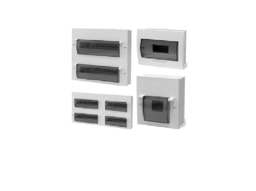 Tủ điện âm tường kim loại - Tủ điện âm tường đế kim loại, mặt nhựa